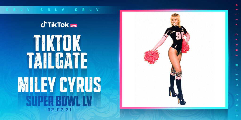 .@mileycyrus will be at Super Bowl LV to perform at the first-ever #TikTokTailgate – the NFL's pregame event for the 7,500 vaccinated health care heroes who have been invited to attend #SBLV   Join the tailgate FEB 7 at 2:30 PM ET on @tiktok_us & @CBS!
