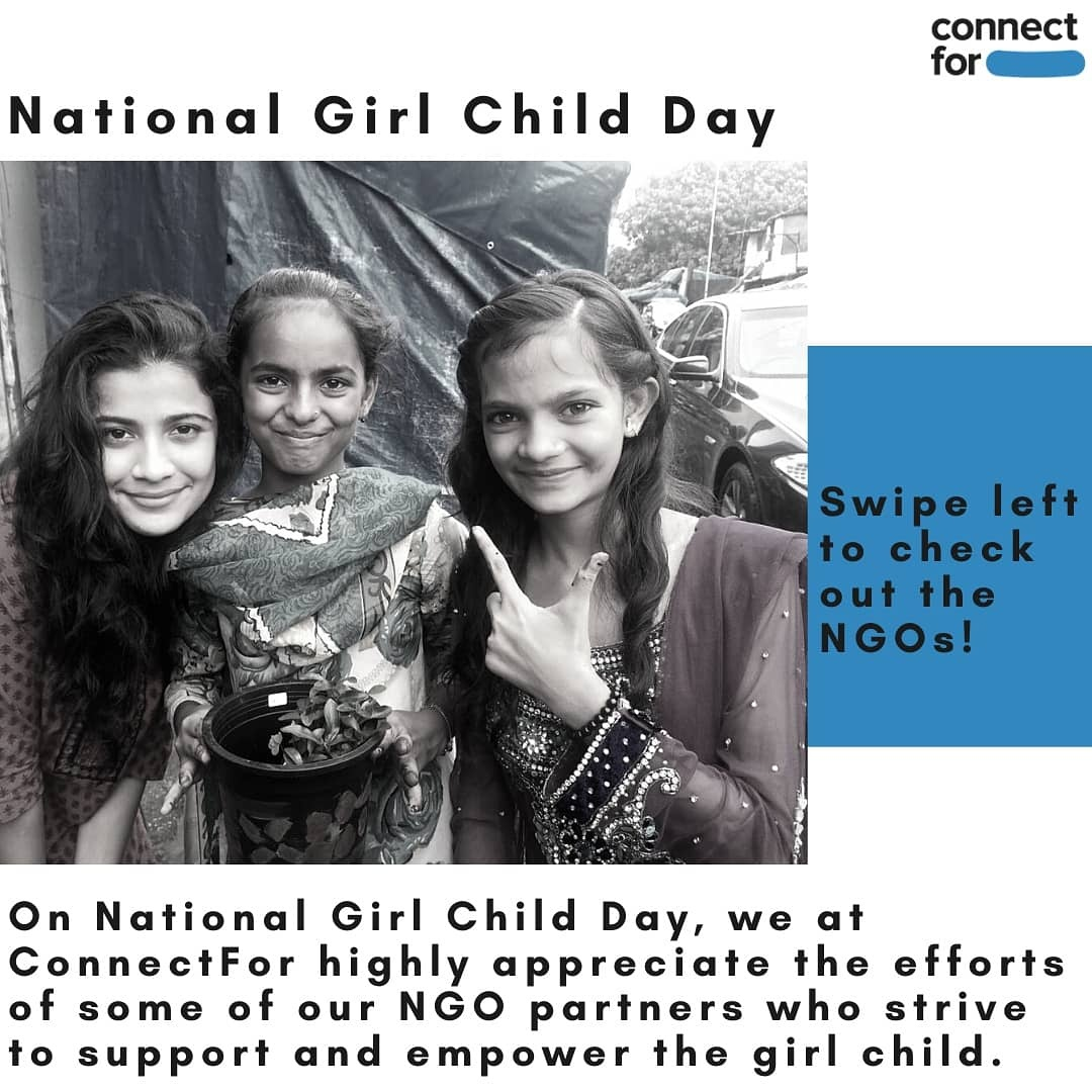 On #NationalGirlChildDay, we at #ConnectFor highly appreciate the efforts of some of our #NGO partners who strive to support and empower the girl child - @urjatrust @MynaMahila @MukkaMaar @safehappyperiod #vachacharitabletrust #SaveTheGirlChild #durga