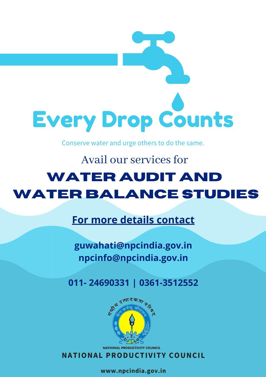 Avail @NPC_INDIA_GOV services to get your Water Audit and Water Balance Studies done.  #water #savewater @GuwahatiNpc @ONGC_ @OilIndiaLimited @NEEPCOlimited @ntpclimited @nhpcltd @apdclsocial @gailindia @IOCL_Assam @NRL @dalmia_shakthi @BergerPaintsInd @srdgroup