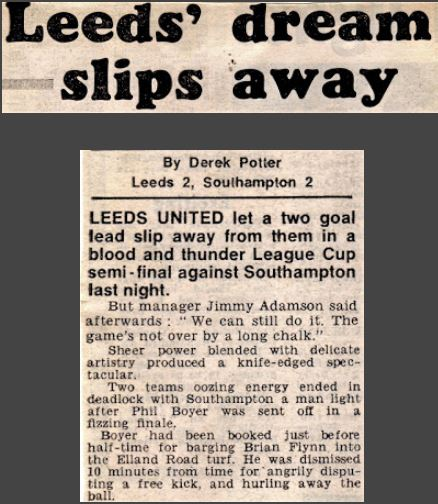 The door to Wembley flew opened then gradually closed again on #lufc at #EllandRoad in 1979 as #Southampton pulled back a 2 goal deficit #OnThisDay. To be fair, despite that disappointment it was United's 14th game unbeaten & Jimmy Adamson was confident for the away tie. Alas...