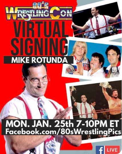 TOMORROW NIGHT! on @80sWrestling_ Facebook page, Mike Rotunda will be LIVE! You can order a personalized autographed photo & he will give you a shout out while you watch him sign it! To order now, please visit 80swrestlingcon.com then watch at facebook.com/80sWrestlingCon