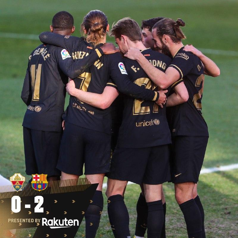📍 Fim de jogo no Martínez Valero!  ⚽️ #ElcheBarça (0-2) 👟 @DeJongFrenkie21 e @RiquiPuig   🔵🔴 #ForçaBarça