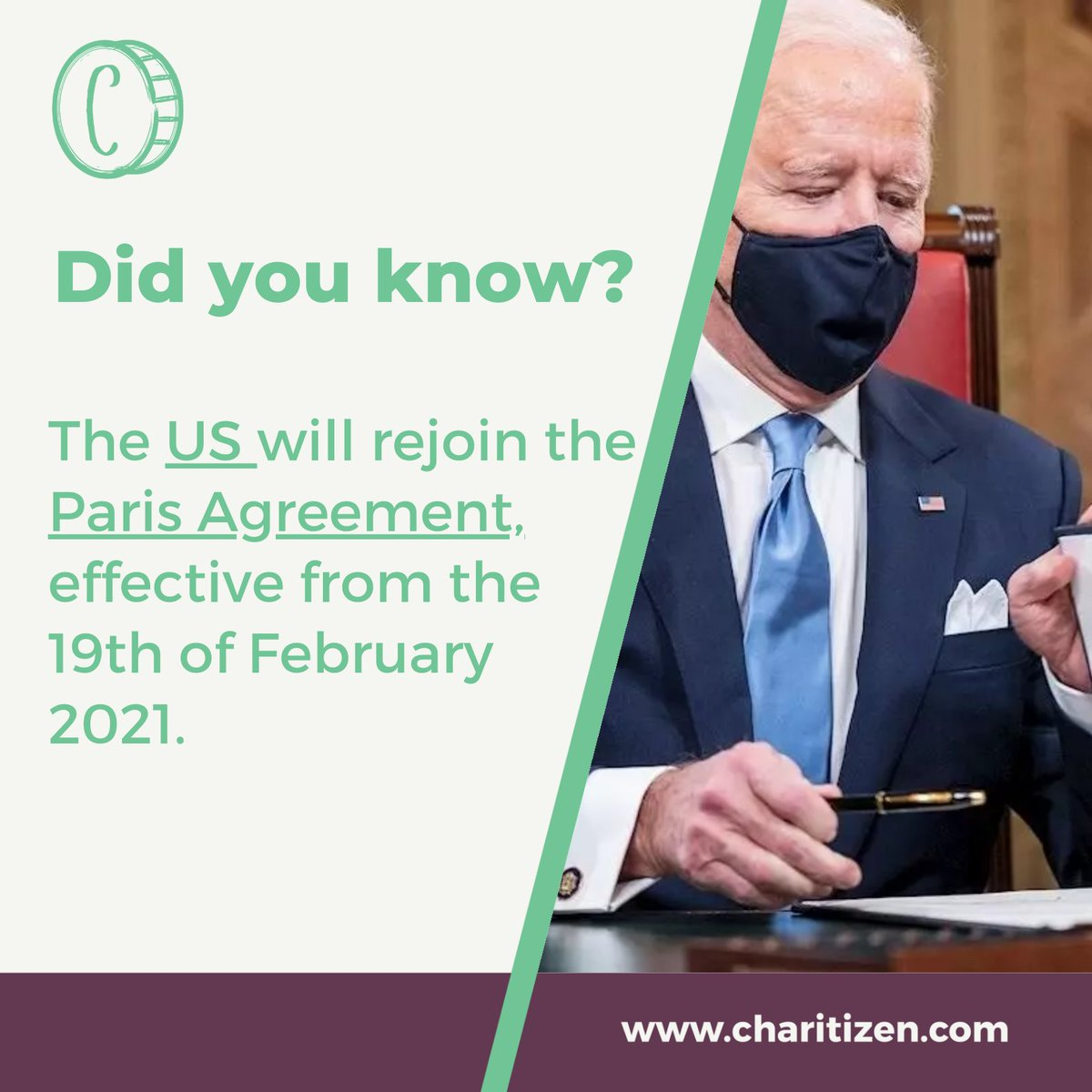 #JoeBiden reentered the #US into the #ParisAgreement as a first step in a series of actions planned to respond to the #ClimateCrisis. At @Charitizen, #ClimateChange is an issue close to our heart, so we will often support #sustainable projects tackling this problem. #charitizen