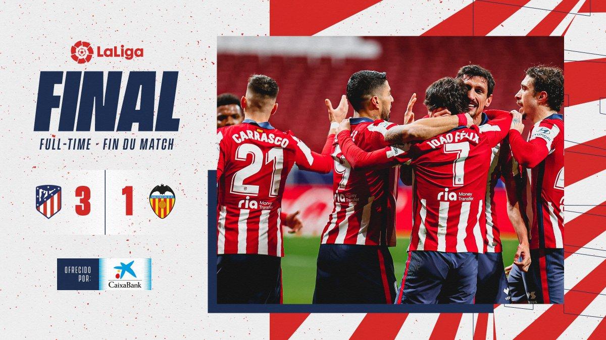 ⏱ 90'+4' | #AtletiValencia 3⃣-1⃣   ¡¡𝗙𝗜𝗡𝗔𝗔𝗔𝗟!! ⏹ ¡REMONTADA EN EL PARTIDAZO DE HOY!   👏¡¡𝙀𝙨𝙩𝙪𝙥𝙚𝙣𝙙𝙤 𝙩𝙧𝙖𝙗𝙖𝙟𝙤, 𝙘𝙝𝙞𝙘𝙤𝙨!!👏  🔴⚪#AúpaAtleti