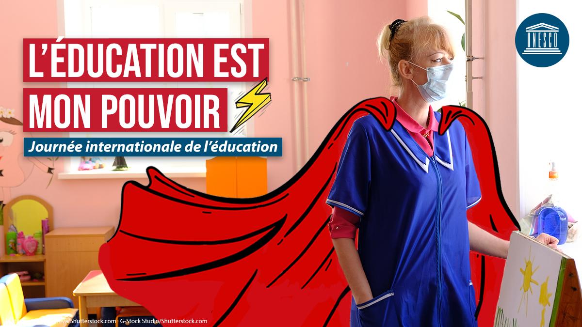 Enseignants = héros ! 🦸🏼♀️  Plus de 63 millions d'enseignants ont été touchés par la crise de #COVID19.  En cette #JournéedelÉducation, rendons hommage aux enseignants du 🌍 entier pour leur dévouement & leur passion ! 👏 👏 👏   #BoosterLÉducation