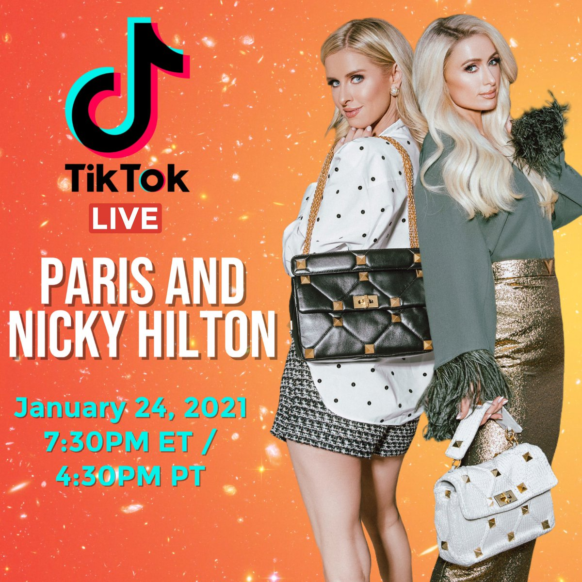 Excited to go Live on @tiktok_us with my sis @NickyHilton today Sunday Jan 24th at 4:30pm PT / 7:30pm ET! Comment below what you want to see us talk about, #TikTok Challenges or anything you have in mind. ✨👸🏼👸🏼✨