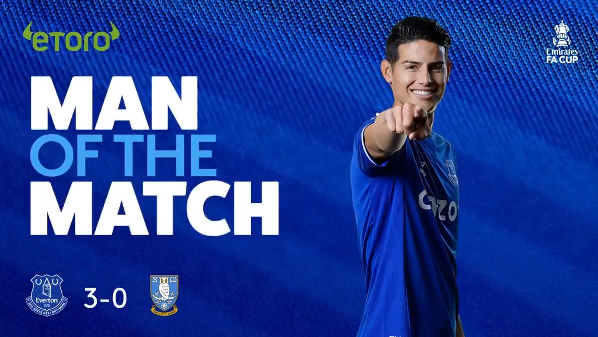 ⭐️ | Your @eToro Man of the Match? That'll be @jamesdrodriguez. 💙  93 touches 85% pass completion 8 key passes 2 assists  🔵 3-0 🦉 #EmiratesFACup