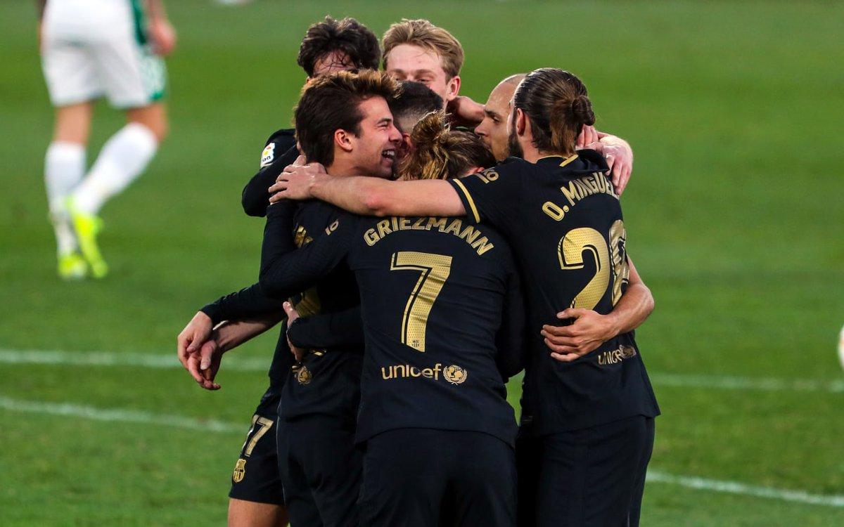 ✅ Valladolid (0-3) ✅ Osca (0-1) ✅ Athletic Club (2-3) ✅ Granada (0-4) ✅ Elx (0-2)  Cinc victòries consecutives a domicili a @LaLiga. Seguim, equip! 💪🔵🔴