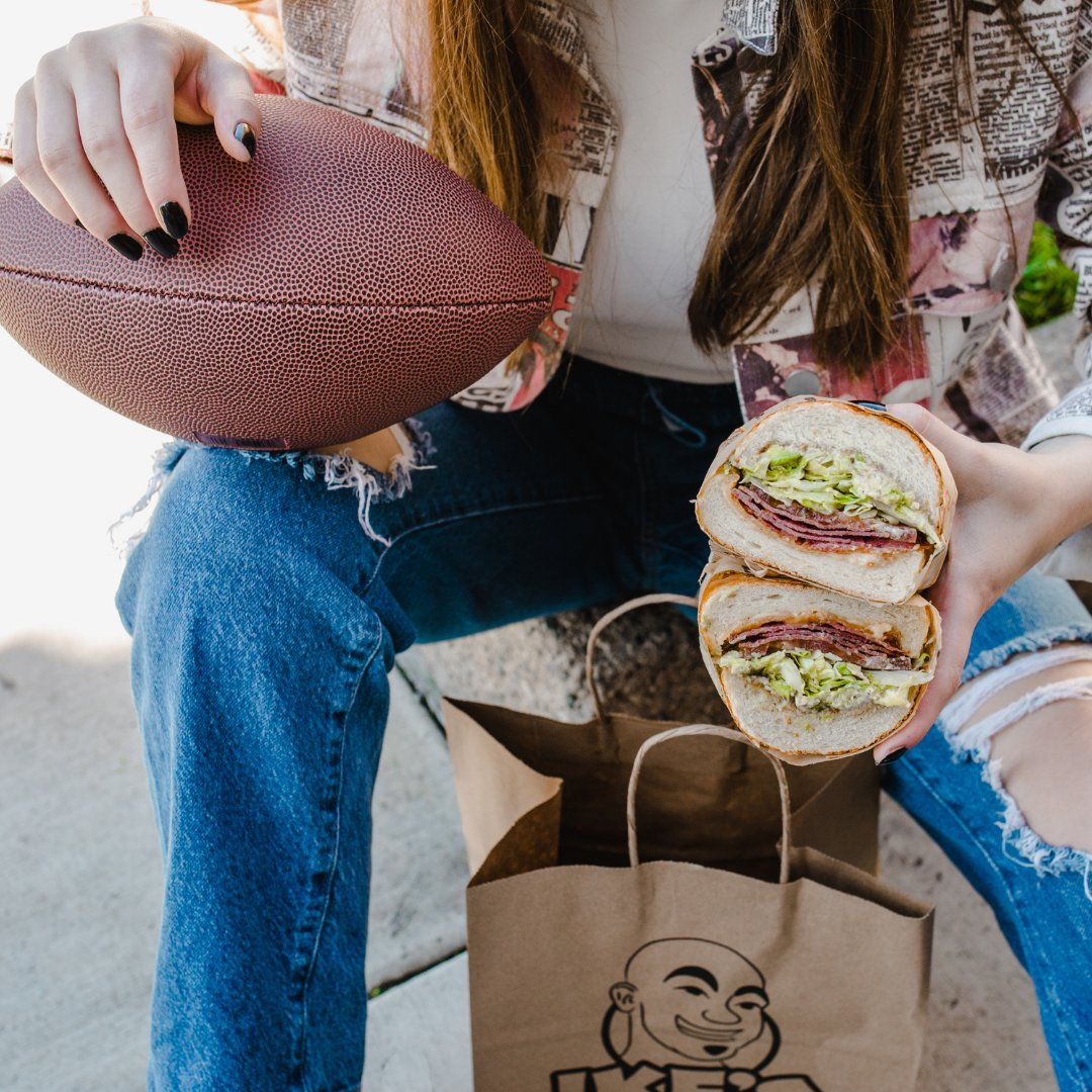 What are your GAME DAY predictions? ⬇️Besides sitting on your couch and eating Ikes. 🏈   FREE DELIVERY IN JANUARY 📲 on the Ike's app! #Buccaneers #GoBucs #TomBrady #NFL #Packers #GoPackGo #AaronRodgers #Bills #BillsMafia #JoshAllen #Chiefs #ChiefsKingdom #PatrickMahomes