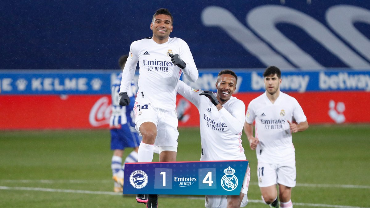 Full Time: Alaves 1-4 Real Madrid. #platinumsportng #LaLiga #LaLigaSantander #HalaMadrid #AlavesRealMadrid