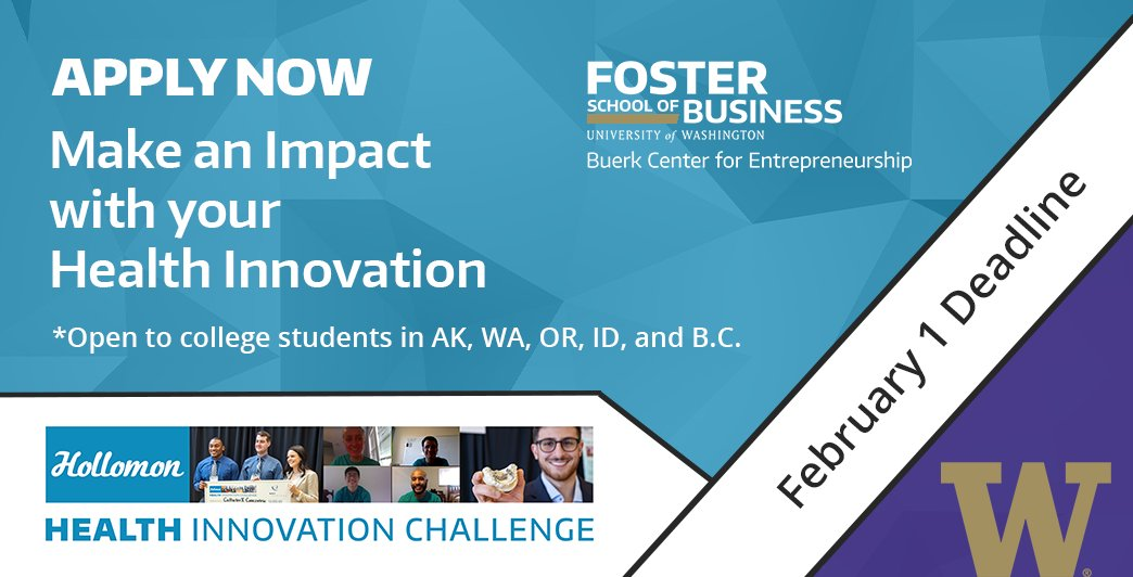 Are you ready to showcase your innovative idea, prototype, product or service  Apply for the 2021 Hollomon Health Innovation Challenge by 2/1: https://t.co/w3IC1rtlYy  @UOregonLCE @WSU_CES @UA_System @NIdahoVenture @seattleu @wwusustain @uvic @SFU @Portland_State @CentralWashU https://t.co/hphI81db6O