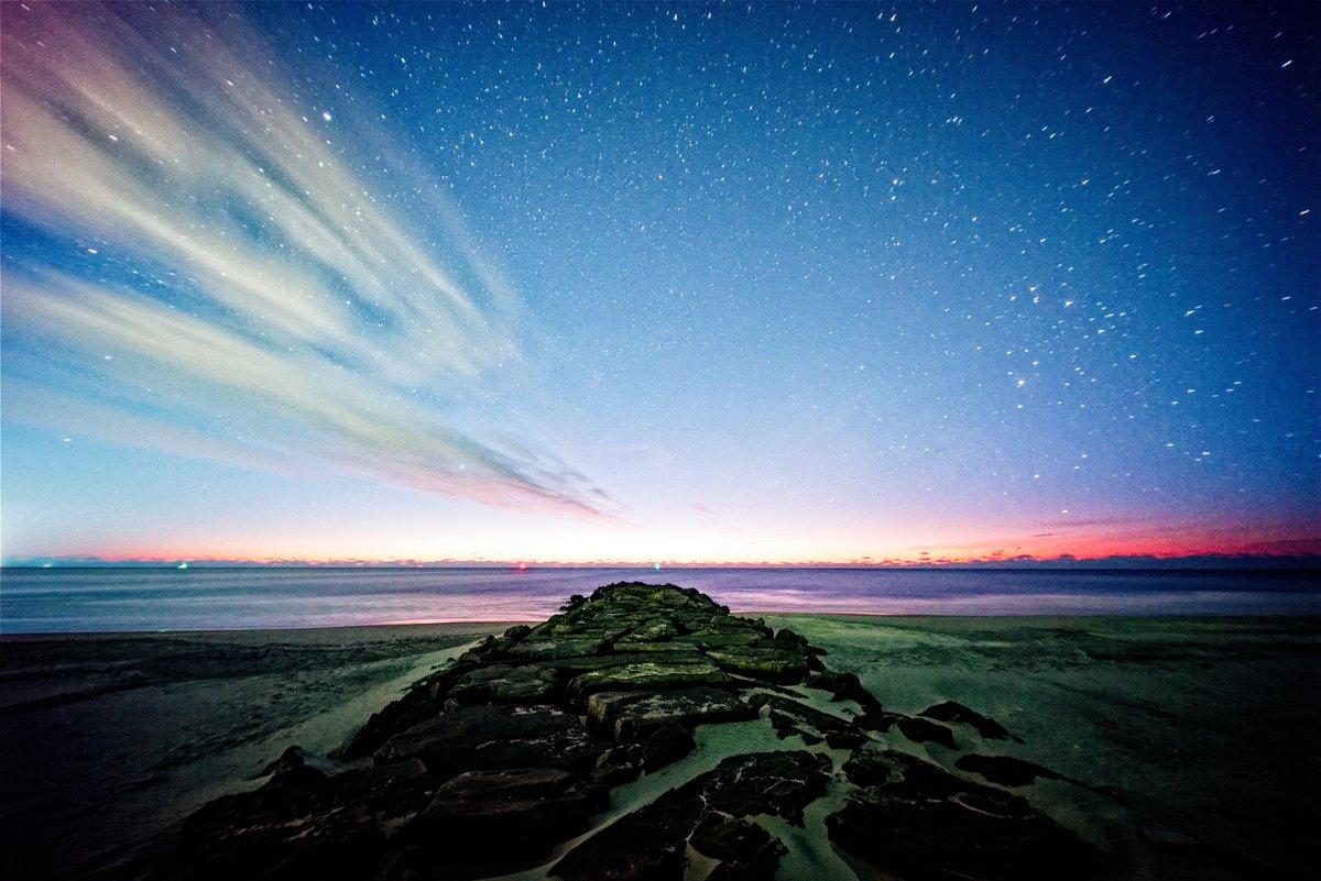 Dawn's Early Light - Pre-sunrise view from a jetty on the Ocean City #Beach, #NewJersey  #ocnj #OceanCityNJ #beach #longexposure #night #astrophotography #nightphotography #photography #stars #nightsky #astrophoto #astro #shots #longexpo @JSHurricaneNews @NJGov