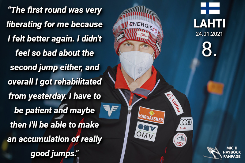 #WorldCup #Lahti 2021 🇫🇮 - Individual competition  Michi's comment after 8th place in today's competition. 😊  ©️ OESV 📷 EXPA #MichaelHayböck #Skijumpingfamily