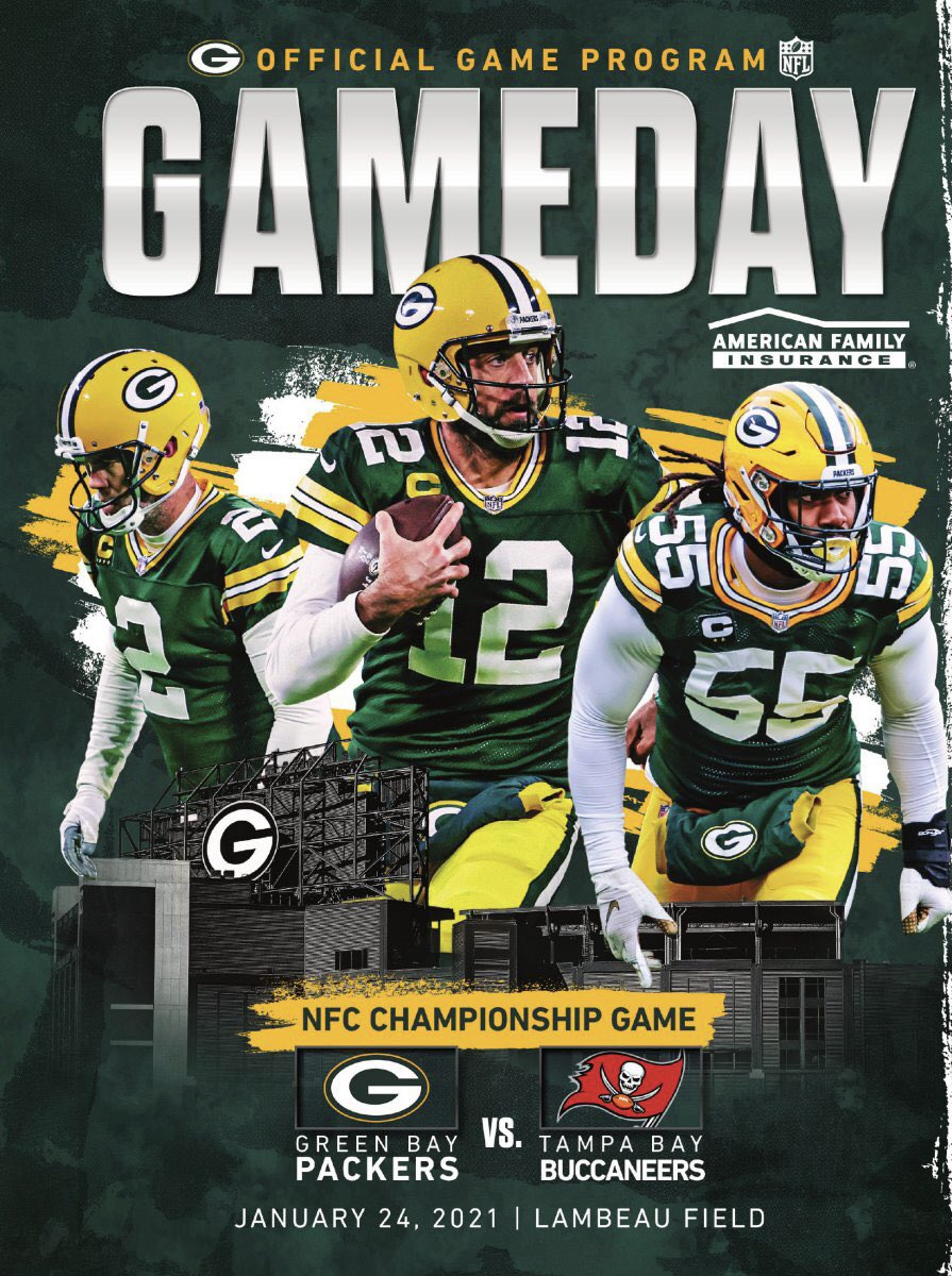 The cover to today's #Packers GAMEDAY program  #GoPackGo  #GBvsTB #NFCChampionship