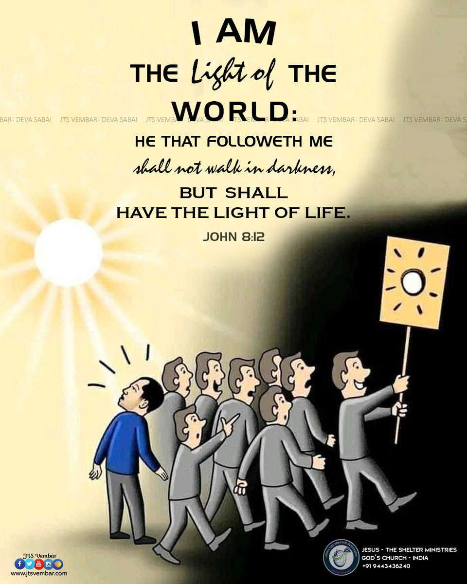 John 8:12 JESUS is the light of life! I am the light of the world. Whoever follows me will never walk in darkness, but will have the light of life. About us:  #jtsvembar #vembarchurch #devasabai #BIBLEVERSE #pictureperfect #Light #dark #jesus #amen