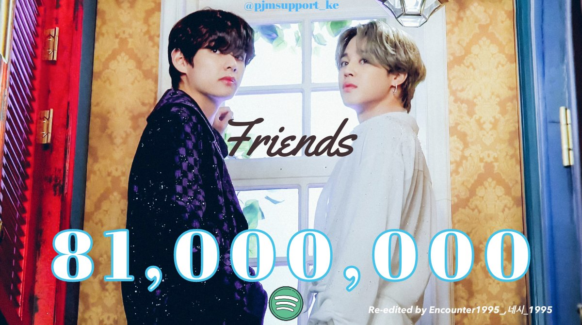 Friends Prod. Jimin ft. Taehyung has surpassed 81 Million streams on Spotify!  Let's keep this up 👏👏  #JIMIN #V #Friends @BTS_twt