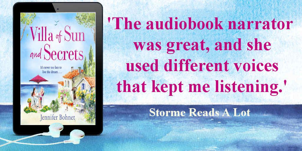 """The audiobook narrator was great, and she used different voices that kept me listening."" says @hybibliophiliac about Villa of Sun and Secrets by @jenniewriter    Villa of Sun and Secrets Audiobook is available now ➡️"