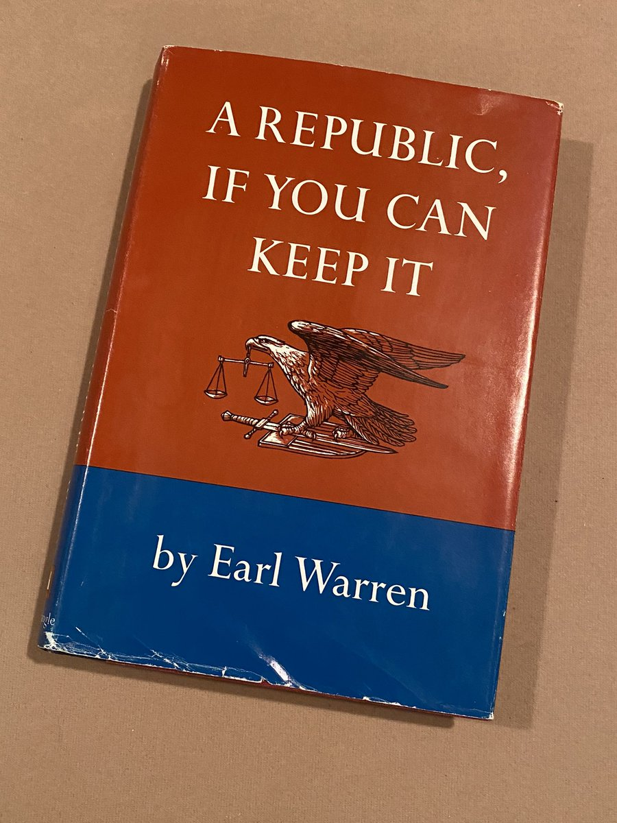 A little Sunday reading from the 14th Chief Justice of #SCOTUS Earl Warren. It's wisdom rings true nearly five decades on