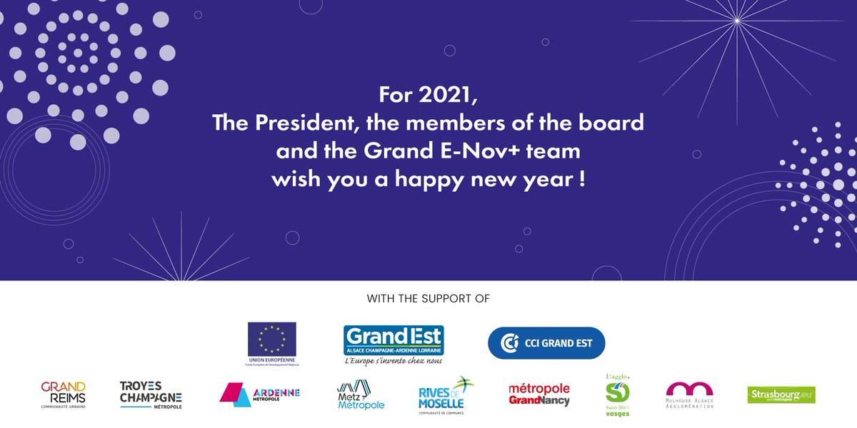 The whole Invest in Eastern France team wishes you a Happy New Year and all the best for 2021. We look forward to hosting your #project in Eastern France this year. #HappyNewYear2021 #FDI #Europe #France #GrandEst #InvestEasternFrance @GrandENov