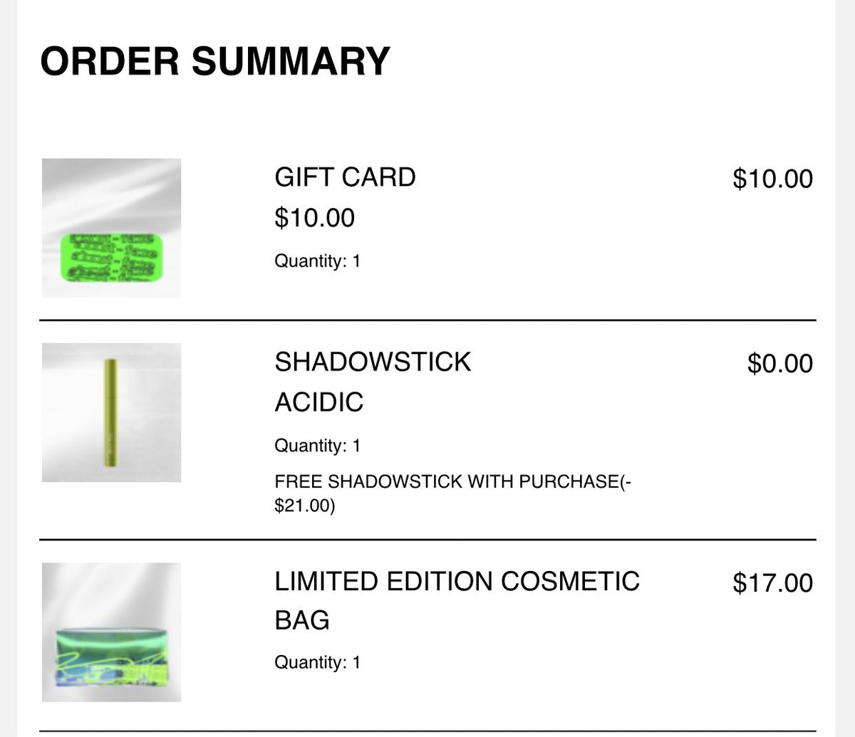 i absolutely did not make three separate orders with gift cards that i used in my final order just so i could get more free shadowsticks from about face, and now they'll ship in three different packages, what are you talking about?
