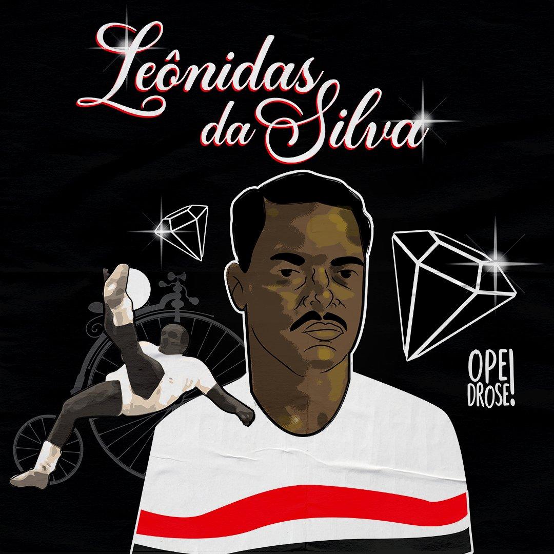 Leônidas da Silva jogou No São Paulo entre os anos de 1942 e 1950 e levantou 5 canecos.🏆 Espero que seja exemplo para esses pipocas de hoje. Ninguém é insubstituível, mas jogador que honra a camisa é eterno. #spfc #saopaulofc #eterno #diamantenegro #leonidasdasilva #artedigital