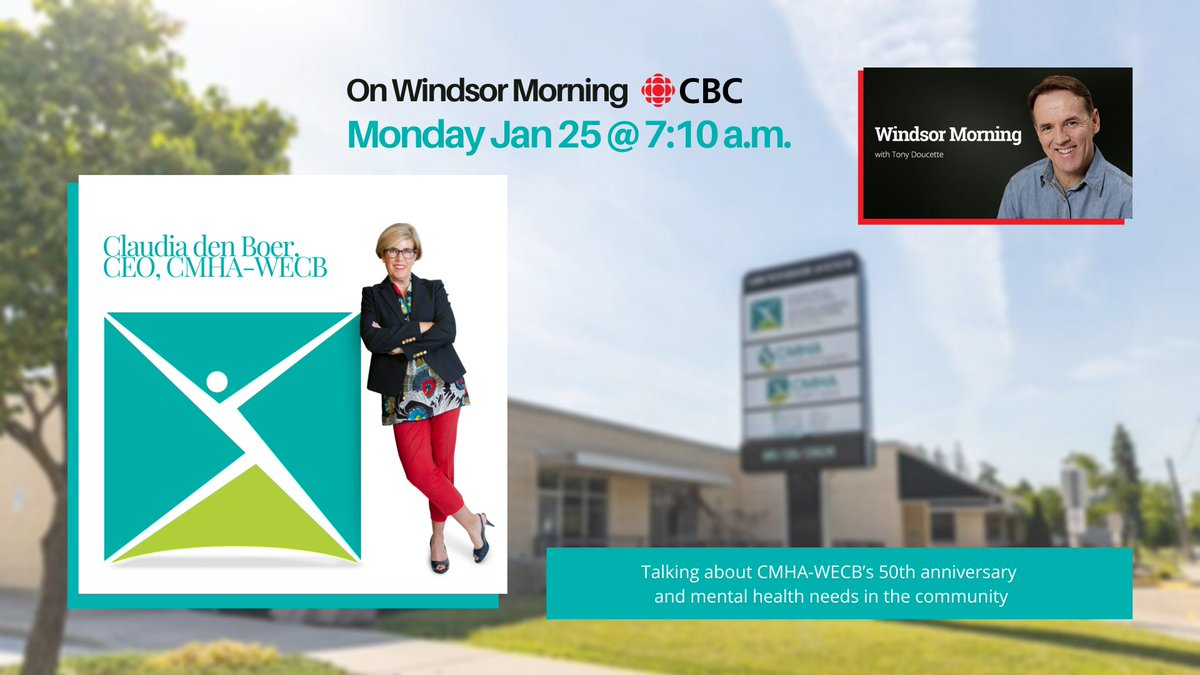 test Twitter Media - Tune into @WindsorMorning to hear our CEO Claudia den Boer talk to Tony Doucette about our 50th Anniversary campaign and the #mentalhealth needs in our community.   Monday, January 25 @ 7:10 a.m.   #movethedial #keepconnected #showyoursole #radio https://t.co/i2nzkTIpZH