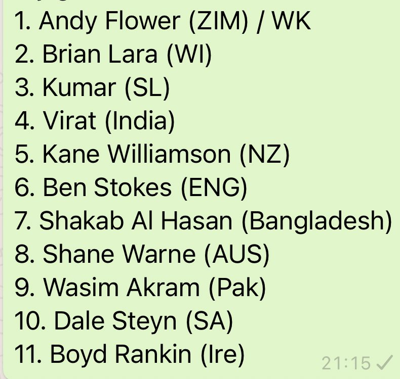 I know we've done this with current players, but @Tyronbarnard has just opened the gauntlet. Select your World XI using only one player from each Test playing nation from 1990 to now. I'm taking heat for no Kallis, but Steyn will always be in my team.