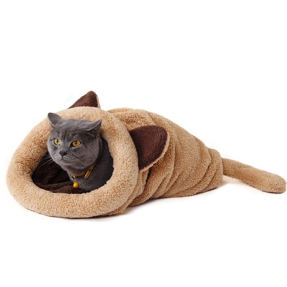 #eyes #furry Cute Warm Animal Shaped Plush Cat Sleeping Bag