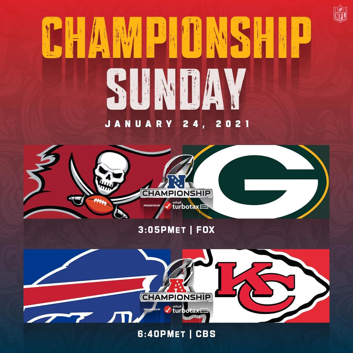Who's winning today? #GoBucs vs #GoPackGo and #BillsMafia vs #ChiefsKingdom #NFCChampionship #AFCChampionship #ChampionshipSunday