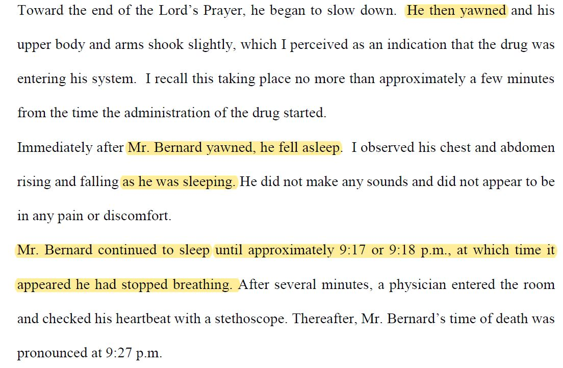 "#Executioners used #sleep metaphors to describe the #executions of #BrandonBernard and others by lethal injection under #Trump, according to filings I found of their accounts. Gurneys are ""beds,"" last breaths are ""yawns"" and ""snores;"" unconsciousness is ""sleeping.""  #DeathPenalty"