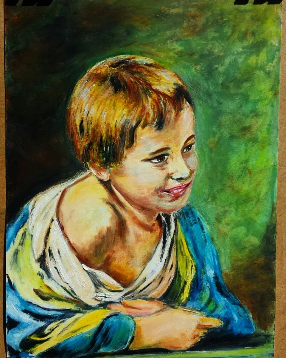 Dibujos rápidos con óleo sobre papel. Niño sonriendo asomado a la ventana, de Bartolomé Esteban Murillo. #portrait #drawing #art #draw #painting #retrato  #artist #oilonpaper #sketch #fanart  #artlovers #drawings #painter #oil  #color #eyes #goodmorning #arte  #oleo  #murillo