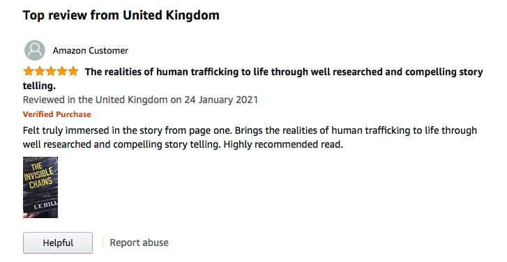 Delighted with this 5 star review!😀 This book is all about raising awareness of human trafficking and all profits will go to @SOHTIS and the TARA Project #raisingawarenesshumantrafficking #CrimeFiction