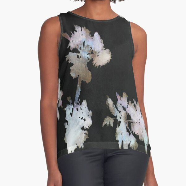 #SleevelessTop by #taiche Tropical Palms Artistic Negative Silhouette  #palm #palmleaves #leaves #fanpalm #hawaii #hawaiian #tropical #jungle #forest #nature #hawaiianstyle #evergreen #tree #foliage #fronds #botanical  #findyourthing #redbubble