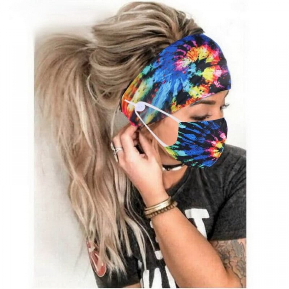 2 PCs Sweat Button Headband Set With Face Cover Women Sweatband Hair Bands Head Gym Hair Accessories Christmas Headwear Set#heels #eyes