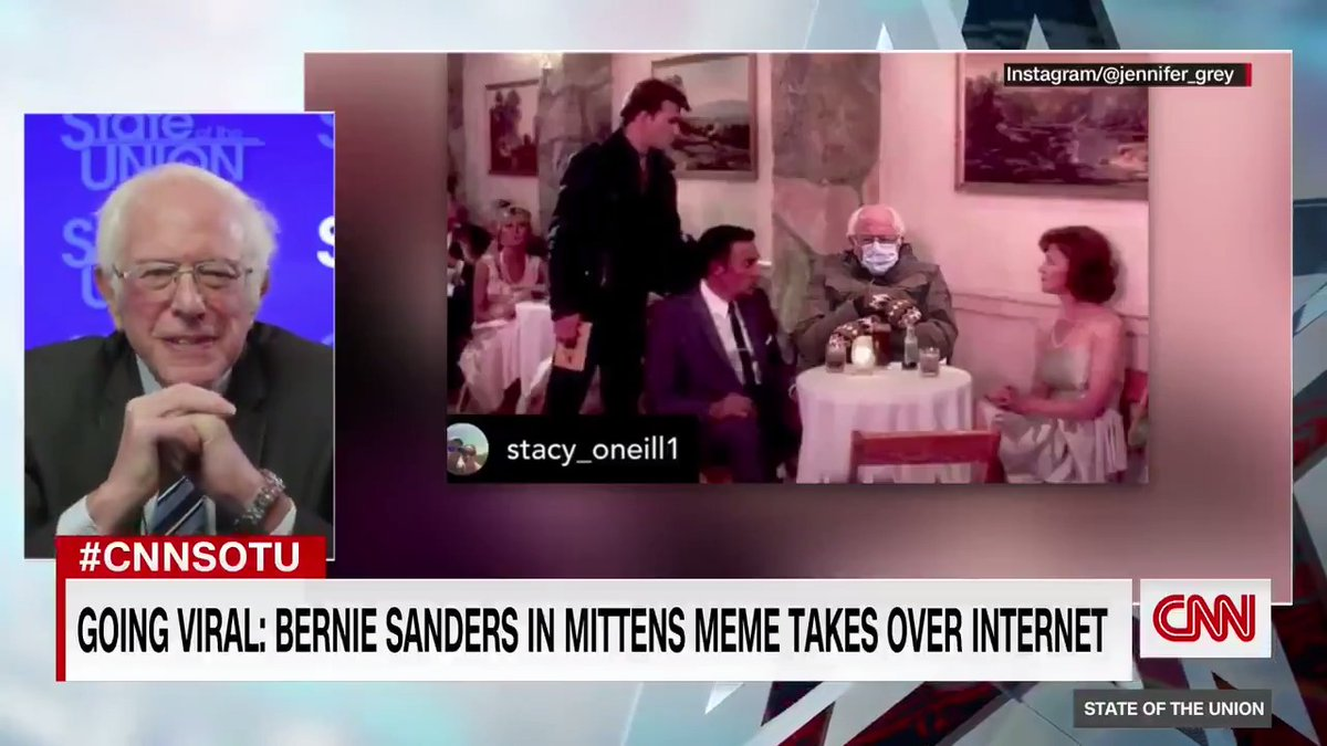"""Sen. Bernie Sanders reacts to his inauguration moment that went viral in the form of a meme: """"It turns out actually to be a good thing and not only a fun thing."""" He's turning the moment into a charitable effort for Meals on Wheels in Vermont.  #CNNSOTU"""