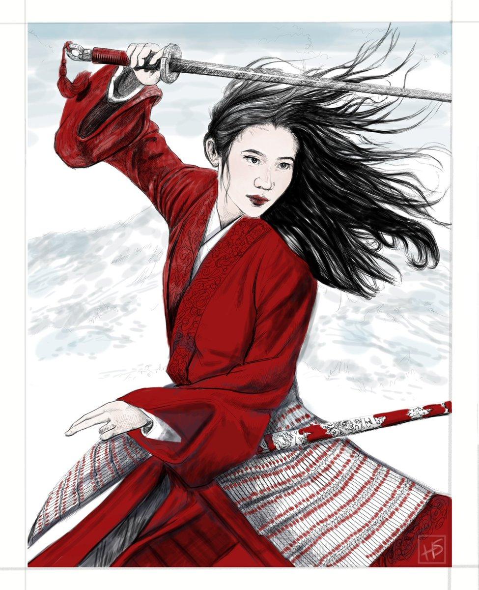 Inktober52 - Reflection - Mulan Reflection. #inktober #inktober52 #inctoberreflection #sketch #sketching #ink #illustration #digitalart #mulan #huamulan #mulan2020 #mulan1998
