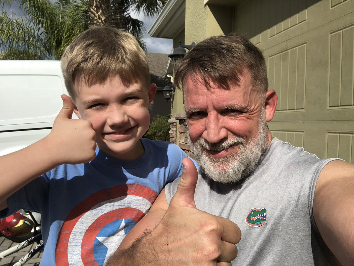 Perfect weather to get some road miles in! Andrew ran for over 1.5 miles and Alex did a run/bike combo. #fitness #FatherAndSon