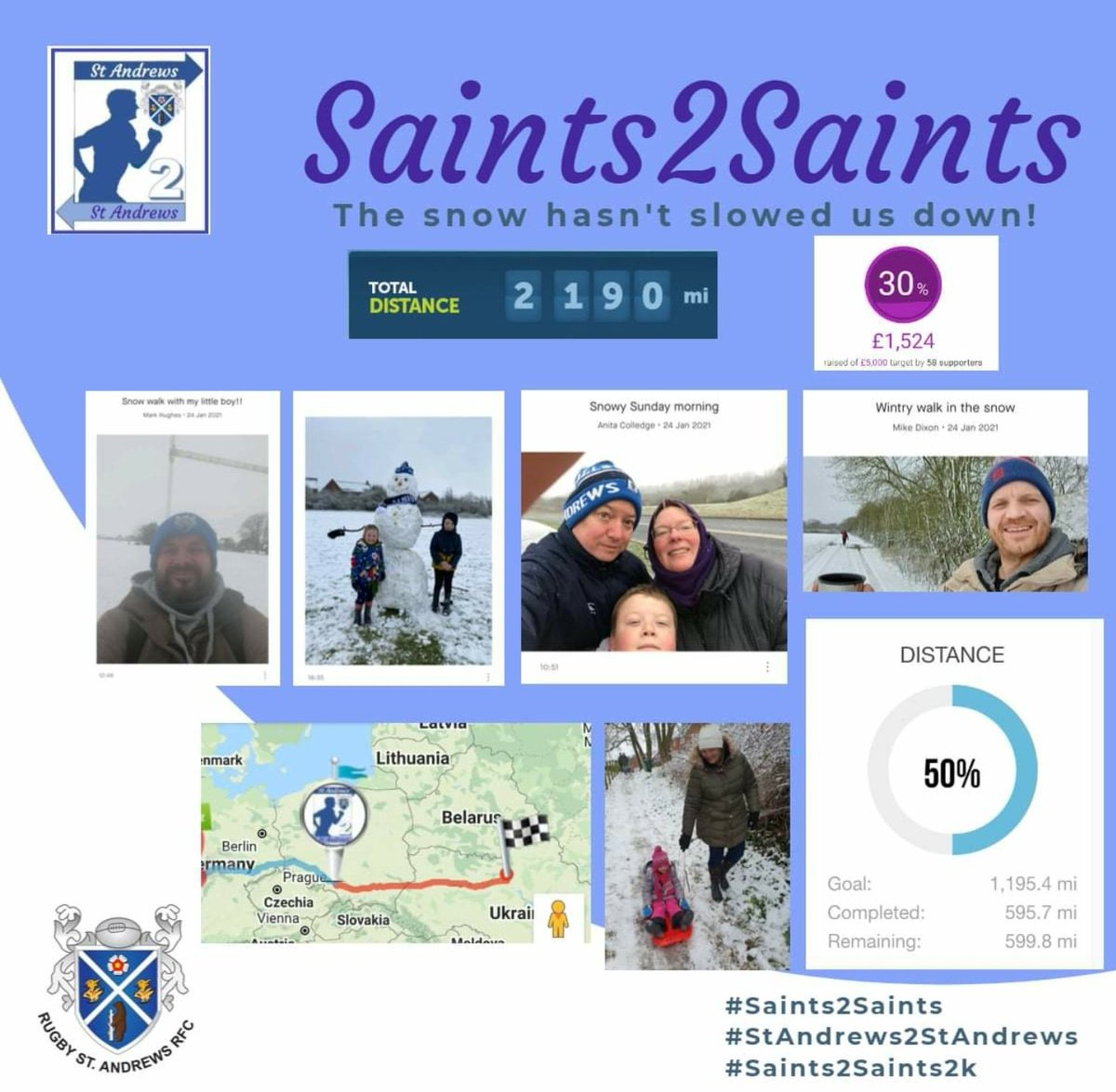 The Snow does not slow down the saints, over 500 miles this weekend.  We now have over 100 people covering miles for us, well done for all involved.  Keep donations coming.  [)  #Saints2Saints #StAndrews2StAndrews #Saints2Saints2k #JustGiving #Mind #Charity