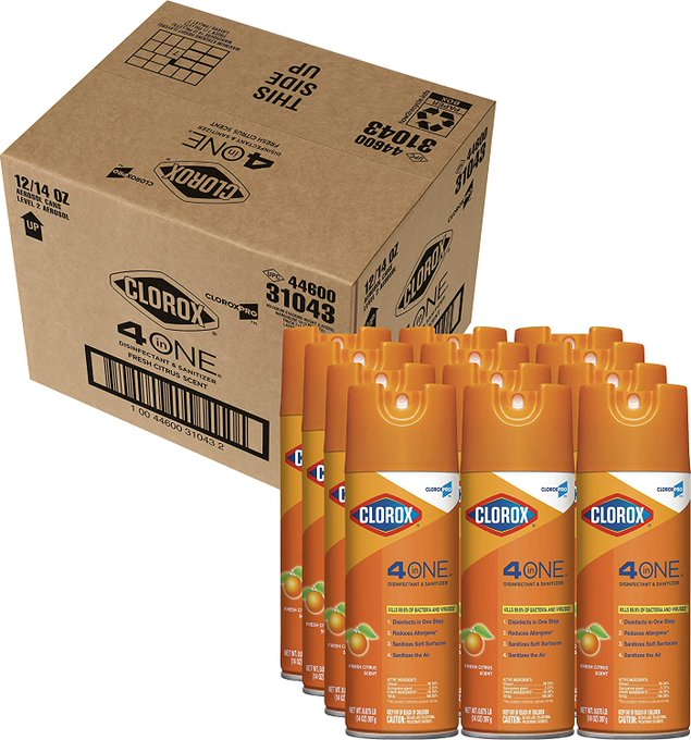 Limited stock  Clorox Commercial Solutions 4 in One Disinfecting Cleaner - 14 Ounce Spray Can, 12 Cans/Case   Now on sale as low as $107.99    #ad #clorox