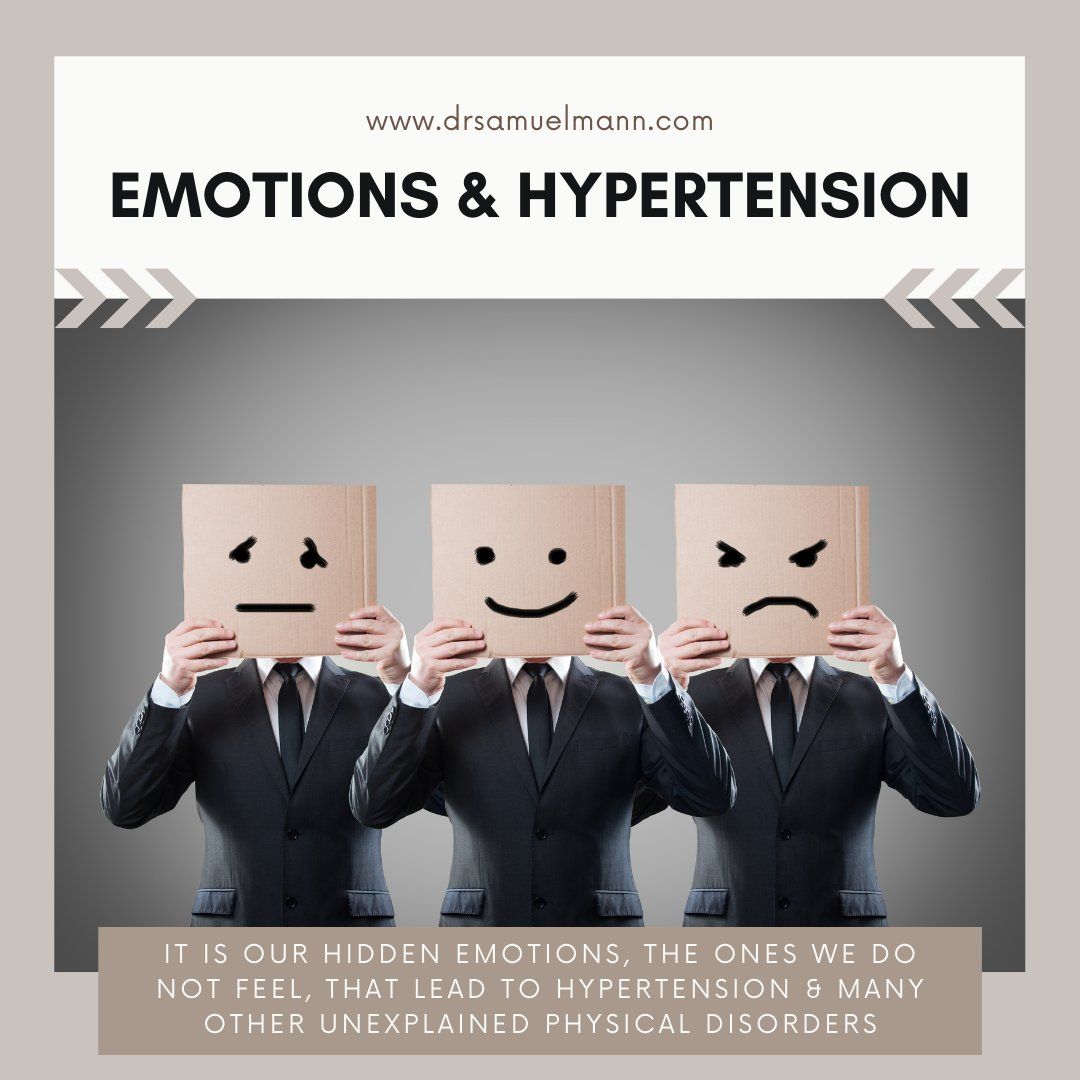It is our hidden emotions, the emotions we do not feel, that lead to hypertension and many other unexplained physical disorders.  Check out my book Healing Hypertension for more information -   #healthcare #Health #books #hypertension