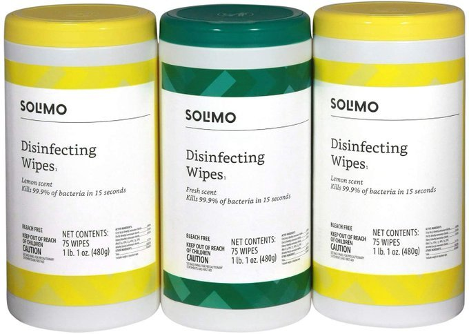 Solimo Disinfecting Wipes, Lemon Scent & Fresh Scent, Sanitizes/Cleans/Disinfects/Deodorizes, 75 Wipes Each (Pack of 3)   Starting at $8.99    #ad #wipes