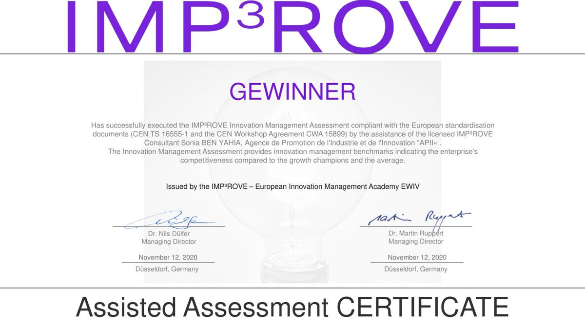 We are so glad to announce that GEWINNER has successfully executed the #IMP3ROVE Innovation Management Assessment compliant with the European standardization. #GEWINNER #INNOVATION #DISABILITY #techforgood