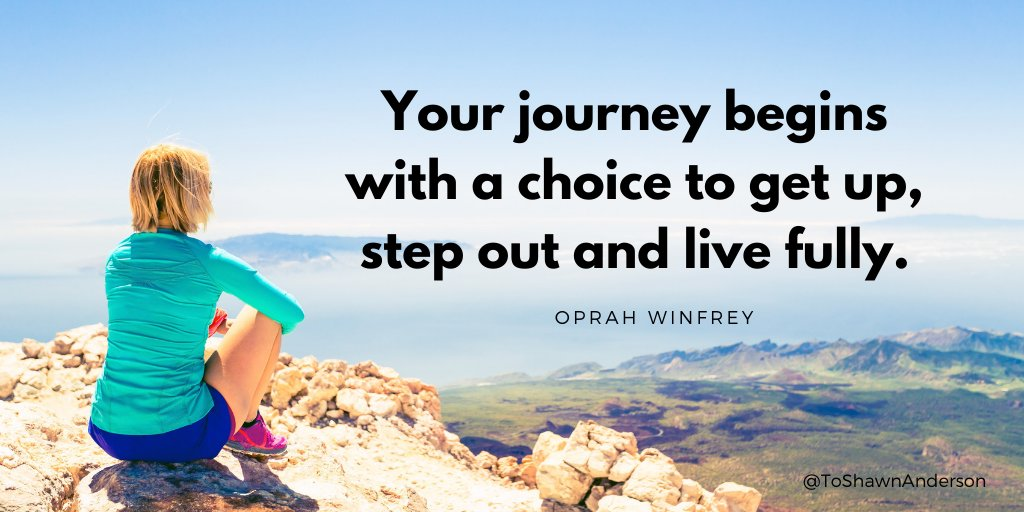 Your journey begins with a choice to get up, step out and live fully. -Oprah  #quotesoftheday #quotes #quotestoliveby #dailymotivation #quote #defstar5  #motivational #success  #JoyTrain #SuccessTRAIN #makeyourownlane #ThinkBIGSundayWithMarsha