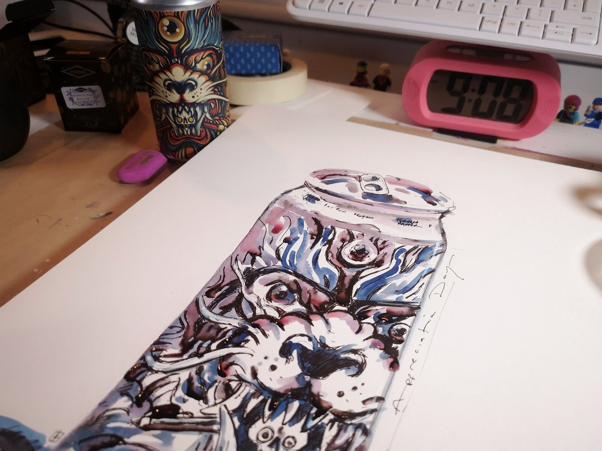 Today is #BeerCanAppreciationDay (which seems a tad unkind to place during #DryJanuary :))  Anyhow drew my favourite beer can so far - by @NMonkeyBrewCo - and a @BrewDog AF beer which I've happily had a few of this month :)
