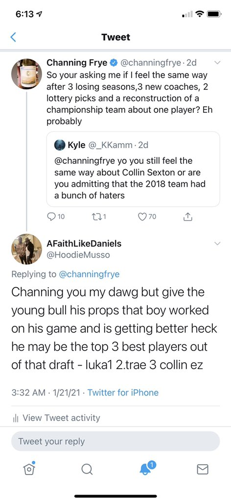 @BlameloveSZN @channingfrye This is the tweet I personally saw that made me incline to think he and collin didnt have a good rapport.... it was surprising to me bc collin doing his thang, i took channing as the guy to give him great advice and mentorship so to see diff is disappointing thas all