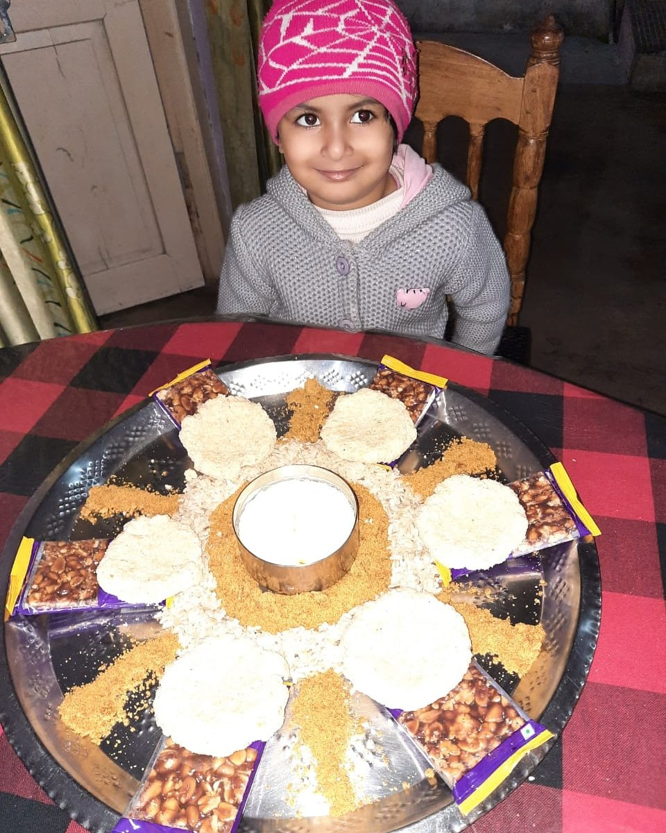 The #foodofindia is so varied! Here is our young student displaying some yummy treats very creatively on the occasion of #makarsankranti