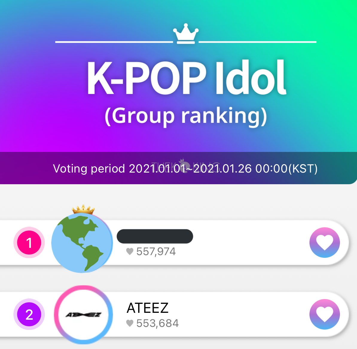 """[🏆] THEKKING  ❗️ATINY❗️  We've lost our place in """"Group Rank"""" in the THEKKING app! If you haven't voted yet, please do! Keep collecting and make new accounts if you can!   #ATEEZ #에이티즈 @ATEEZOfficial"""