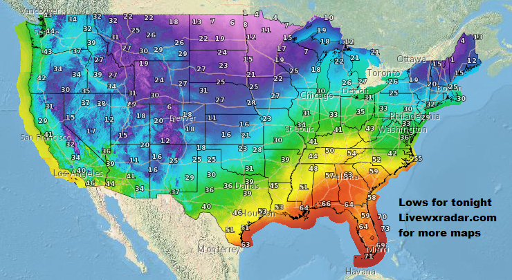 Tonight's Low temps.     Get latest  Temps and Weather at             #wx #weather  #flooding  #nice    #rain #storm #temps  #Freezing#cooling  #lows #usa  #cold# colder #nws #news #heat   #Monday  #week