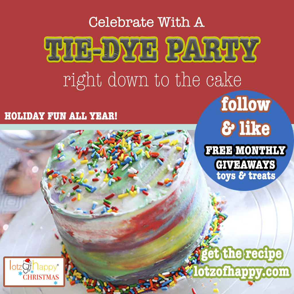 IT'S A TIE-DYE PARTY...EVEN THE CAKE! recipe @  #FOLLOW #LIKE #SHARE FREE MONTHLY #GIVEAWAYS! #RECIPES #CRAFTS #TOYS #PETS  #christmas #valentinesday #easter #halloween  #thanksgiving #birthdays #birthdaycake #tiedye  @LotzChristmas #lotzofhappychristmas