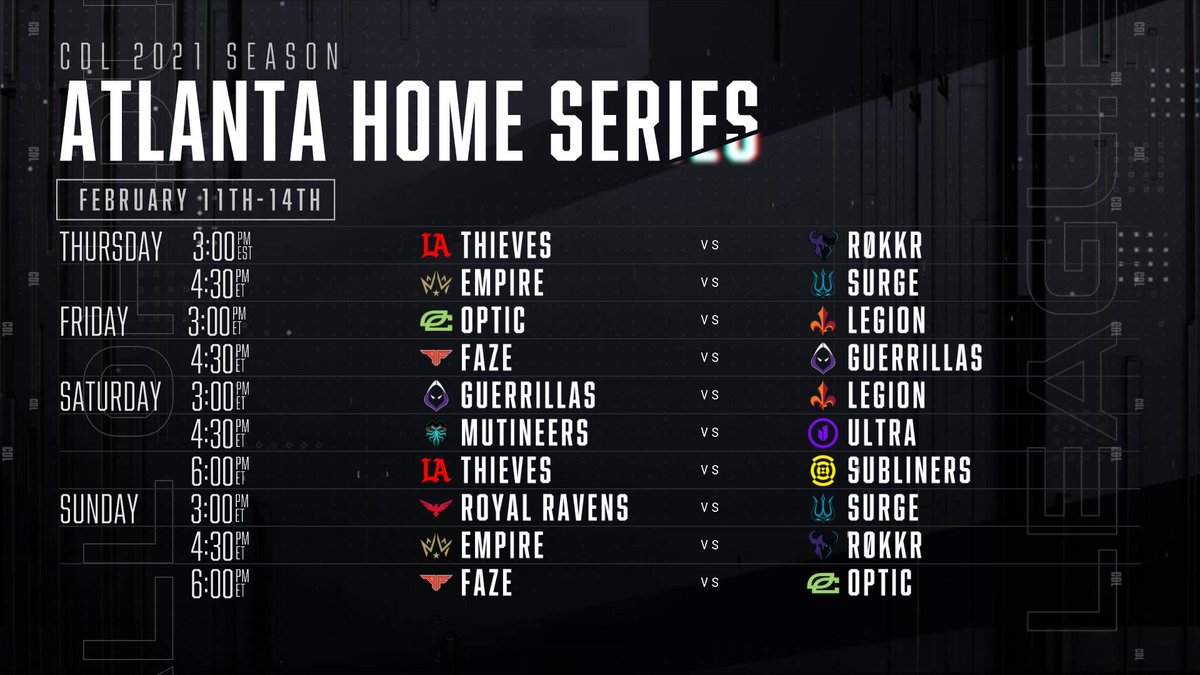 Stage 1 of the #CDL2021 Season begins February 11 with the @ATLFaZe Home Series!   Here's the full schedule for the first 3 weeks of matches.